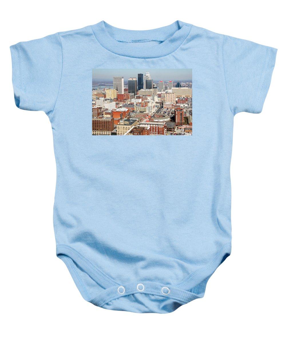 3rd Street Baby Onesie featuring the photograph Downtown Skyline Of Louisville Kentucky by Bill Cobb