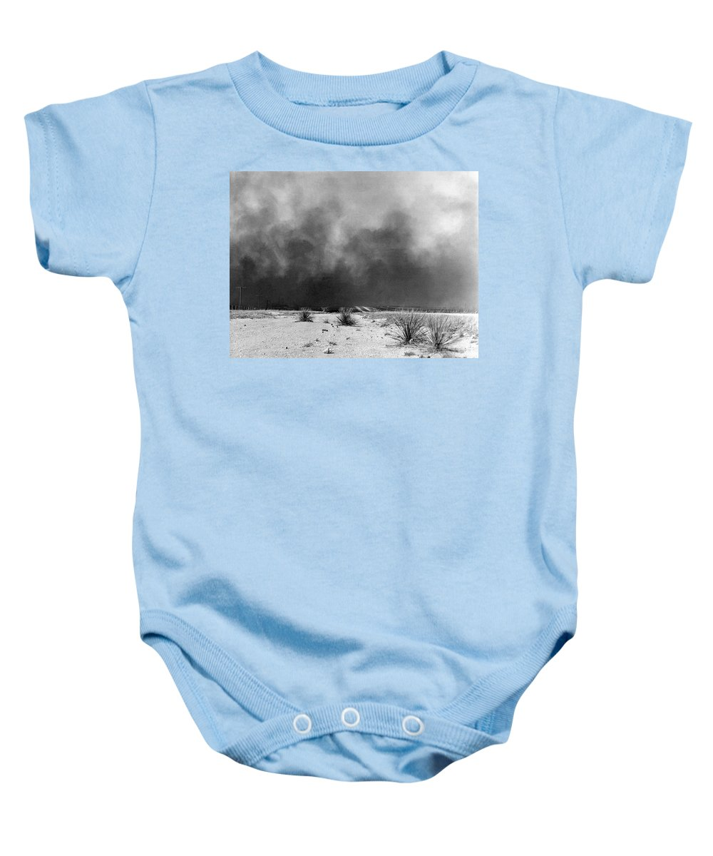 1936 Baby Onesie featuring the photograph Drought Dust Storm, 1936 by Granger