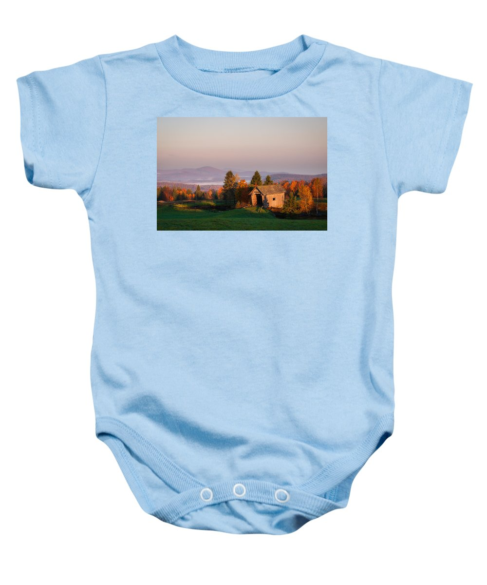 A.m. Foster Baby Onesie featuring the photograph Fog In The Valley by Michael Blanchette