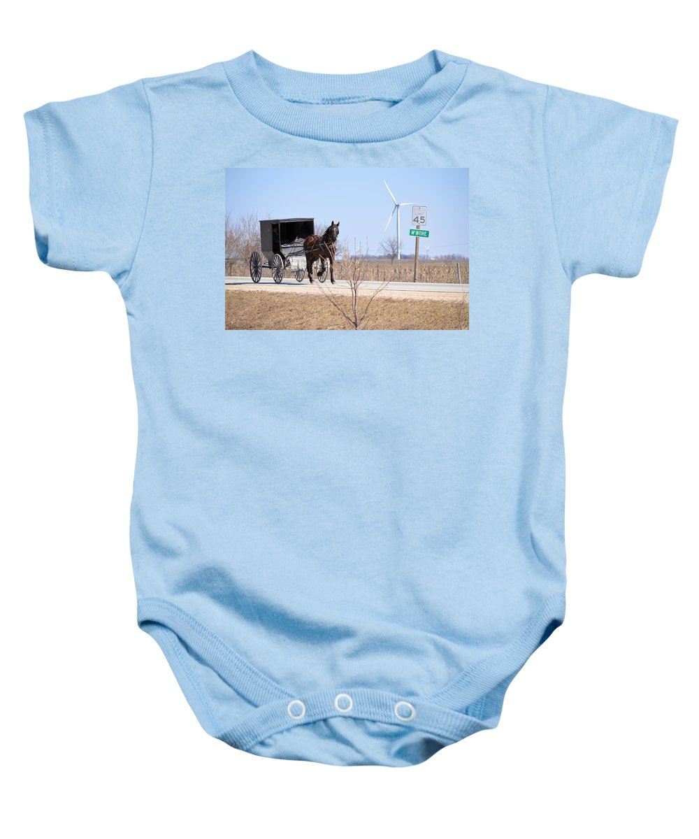 Amish Baby Onesie featuring the photograph Horse And Buggy by Bonfire Photography