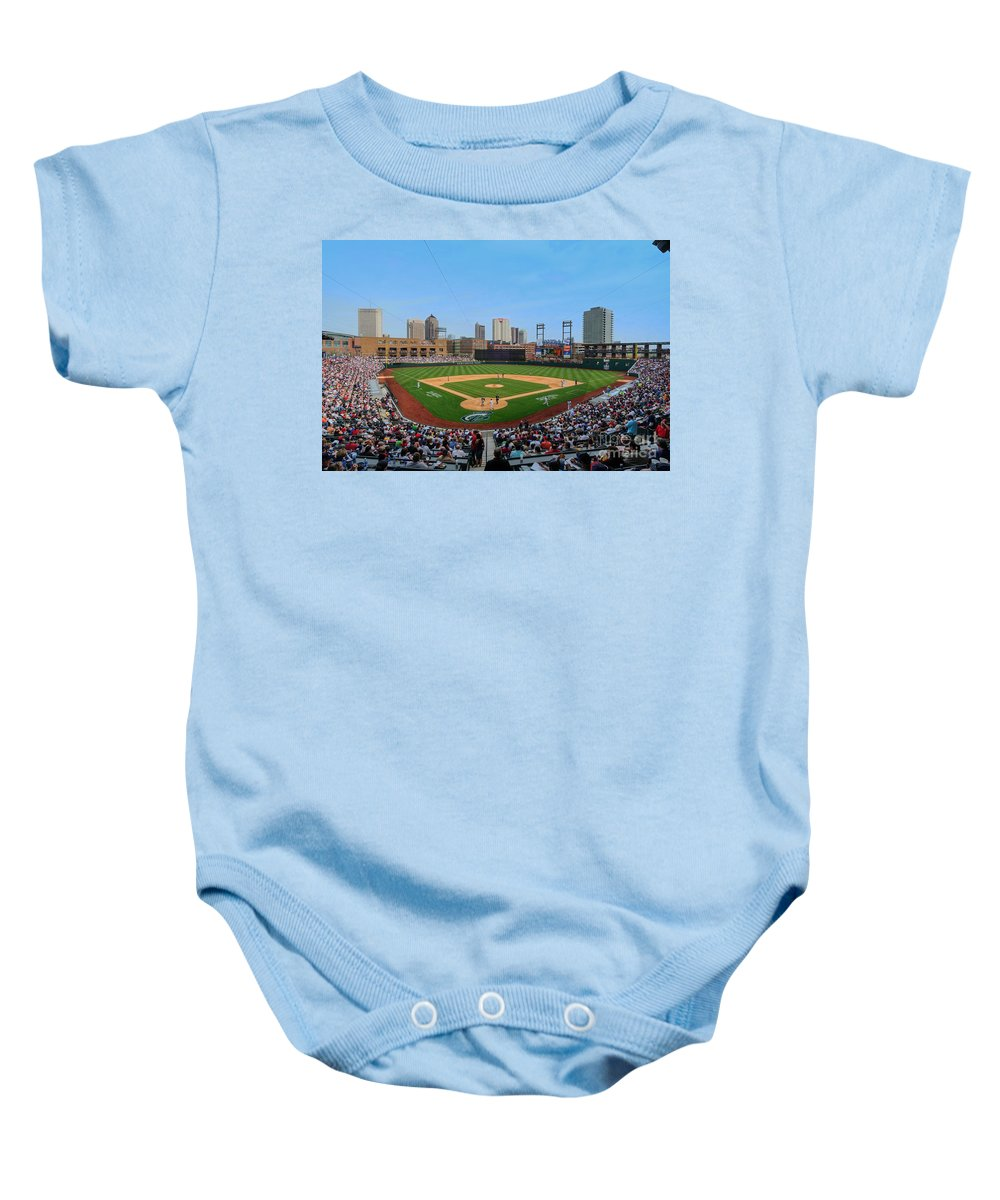 Columbus Clippers Baby Onesie featuring the photograph D24w-299 Huntington Park Photo by Ohio Stock Photography