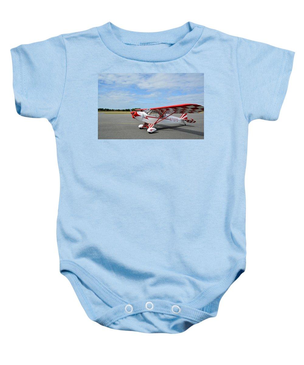 Piper J-3 Cub Baby Onesie featuring the photograph Krier Cub by Matt Abrams