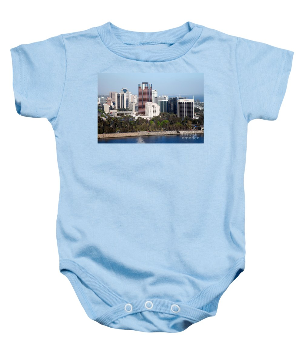 Long Beach Baby Onesie featuring the photograph Long Beach Skyline by Bill Cobb