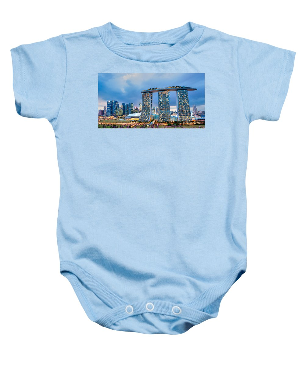 Night Baby Onesie featuring the photograph Marina Bay Sands - Singapore by Luciano Mortula