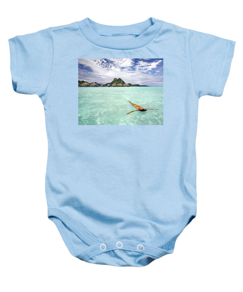 Active Baby Onesie featuring the photograph Moorea Woman Floating by M Swiet Productions