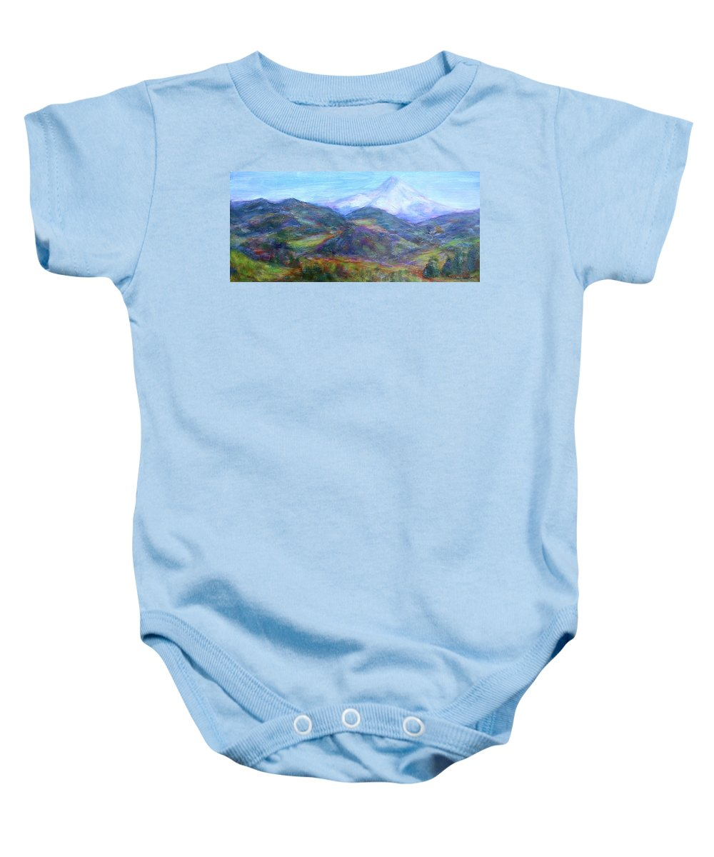 Quin Sweetman Paintings Baby Onesie featuring the painting Mountain Patchwork by Quin Sweetman