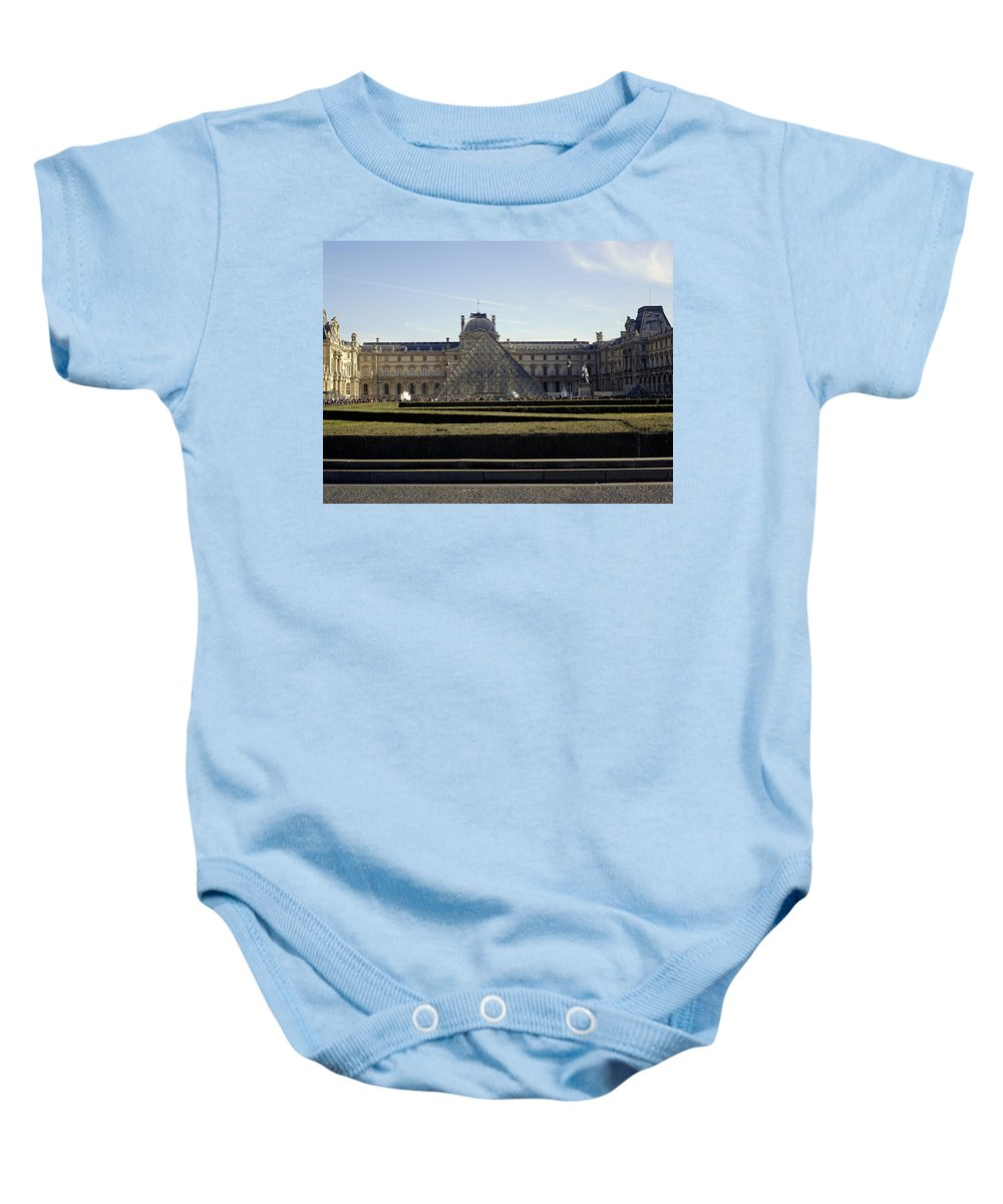Paris Baby Onesie featuring the photograph Musee Du Louvre In Paris France by Richard Rosenshein