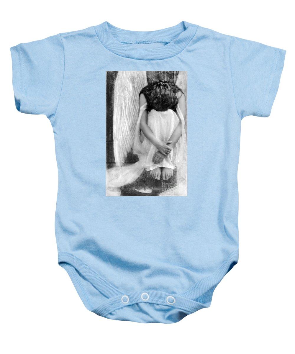 Angel Baby Onesie featuring the photograph Sad Angel Woman by Jill Battaglia