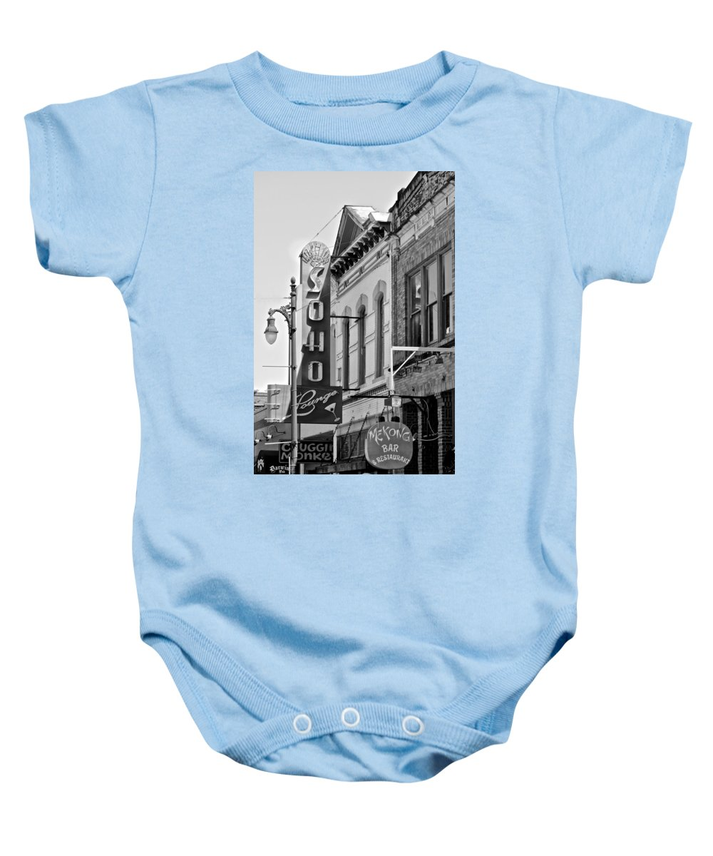 Lounge Sign Baby Onesie featuring the photograph Soho Lounge by Kristina Deane