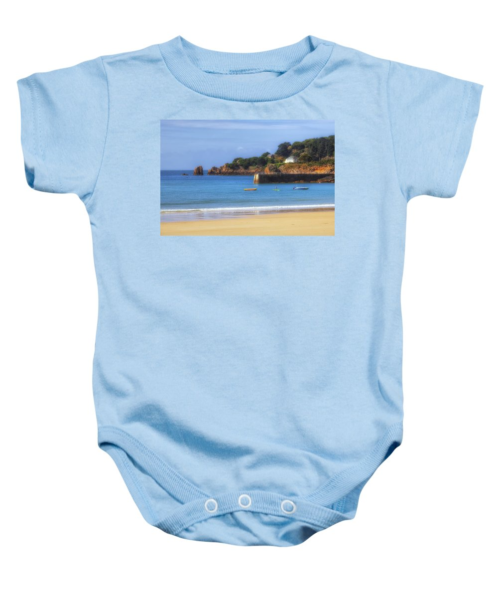 Baby Onesie featuring the photograph St Brelade's Bay - Jersey by Joana Kruse