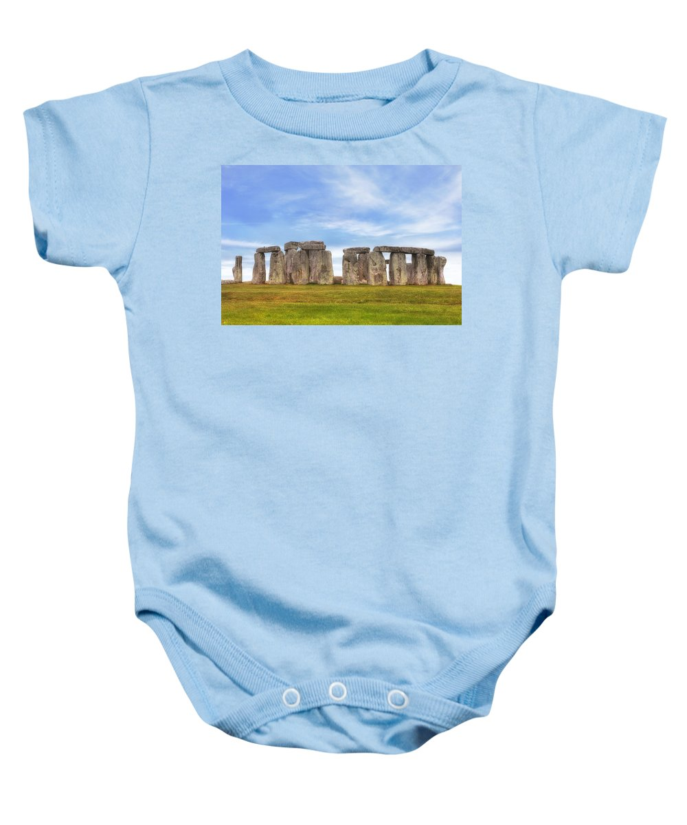 Stonehenge Baby Onesie featuring the photograph Stonehenge by Joana Kruse