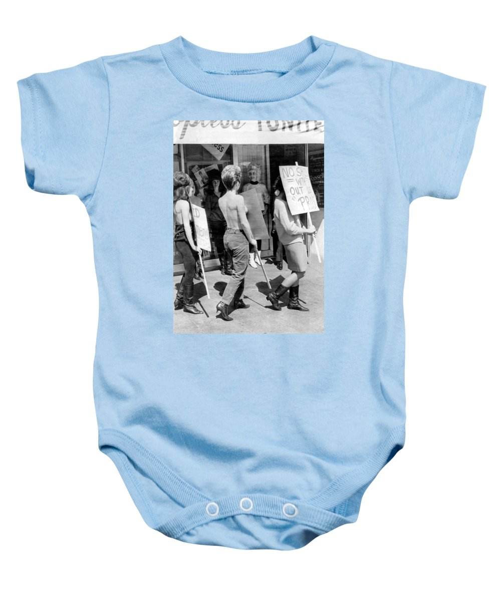1966 Baby Onesie featuring the photograph Strippers On Strike by Underwood Archives