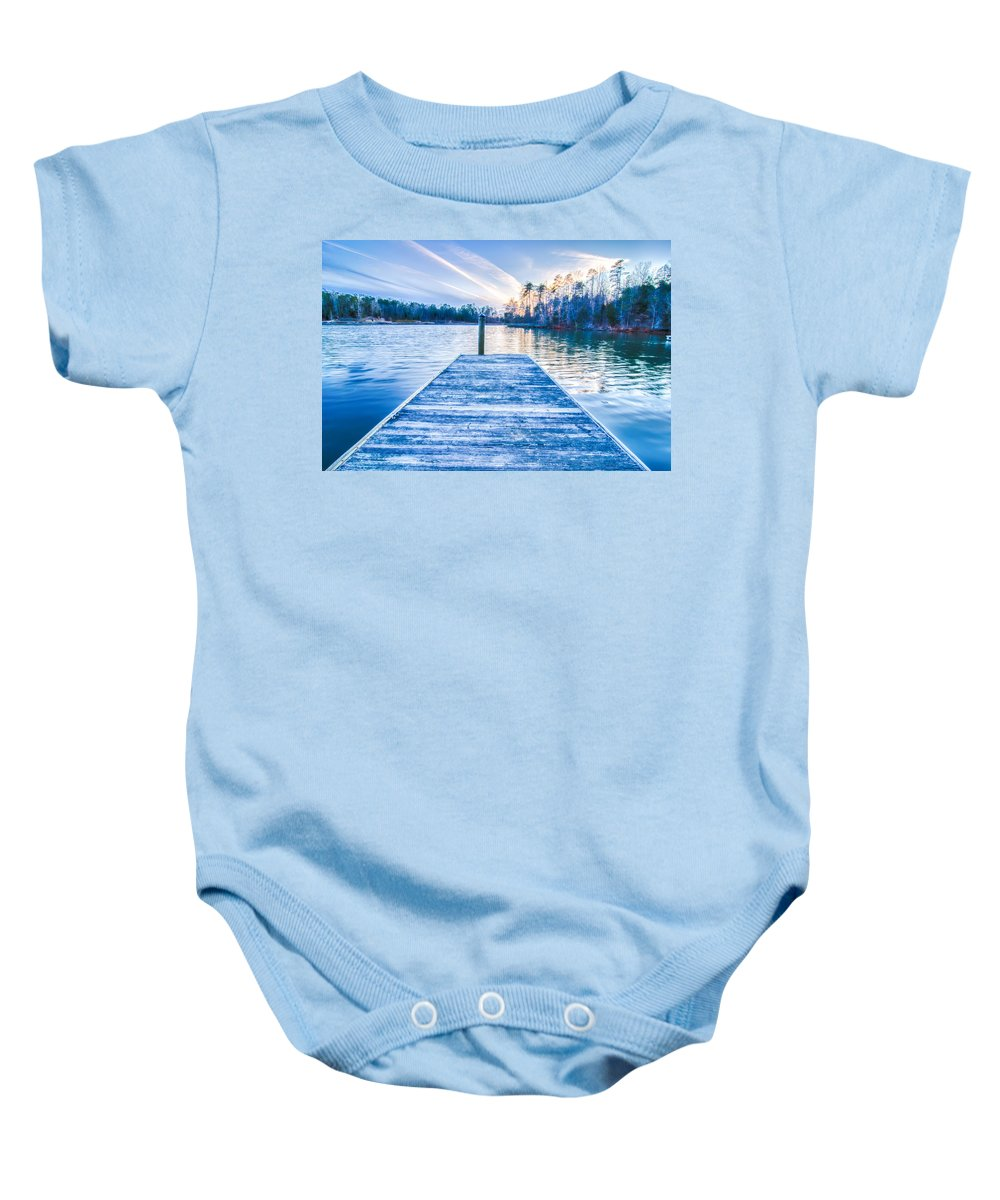 Sunset Baby Onesie featuring the photograph Sunset Over Lake Wylie At A Dock by Alex Grichenko
