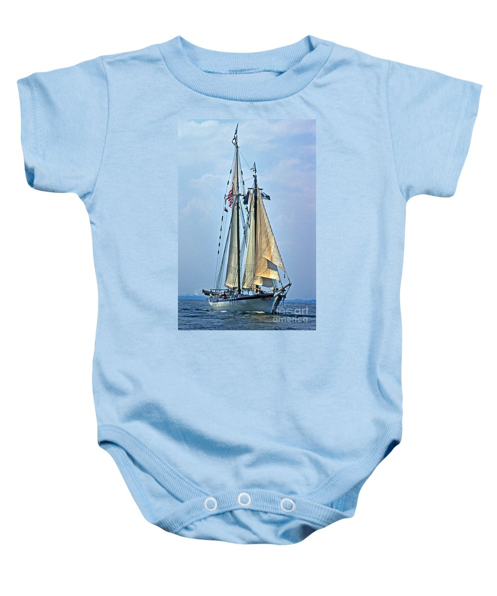 Sailing Gear Baby Onesie featuring the photograph Tall Ship Harvey Gamage by Skip Willits