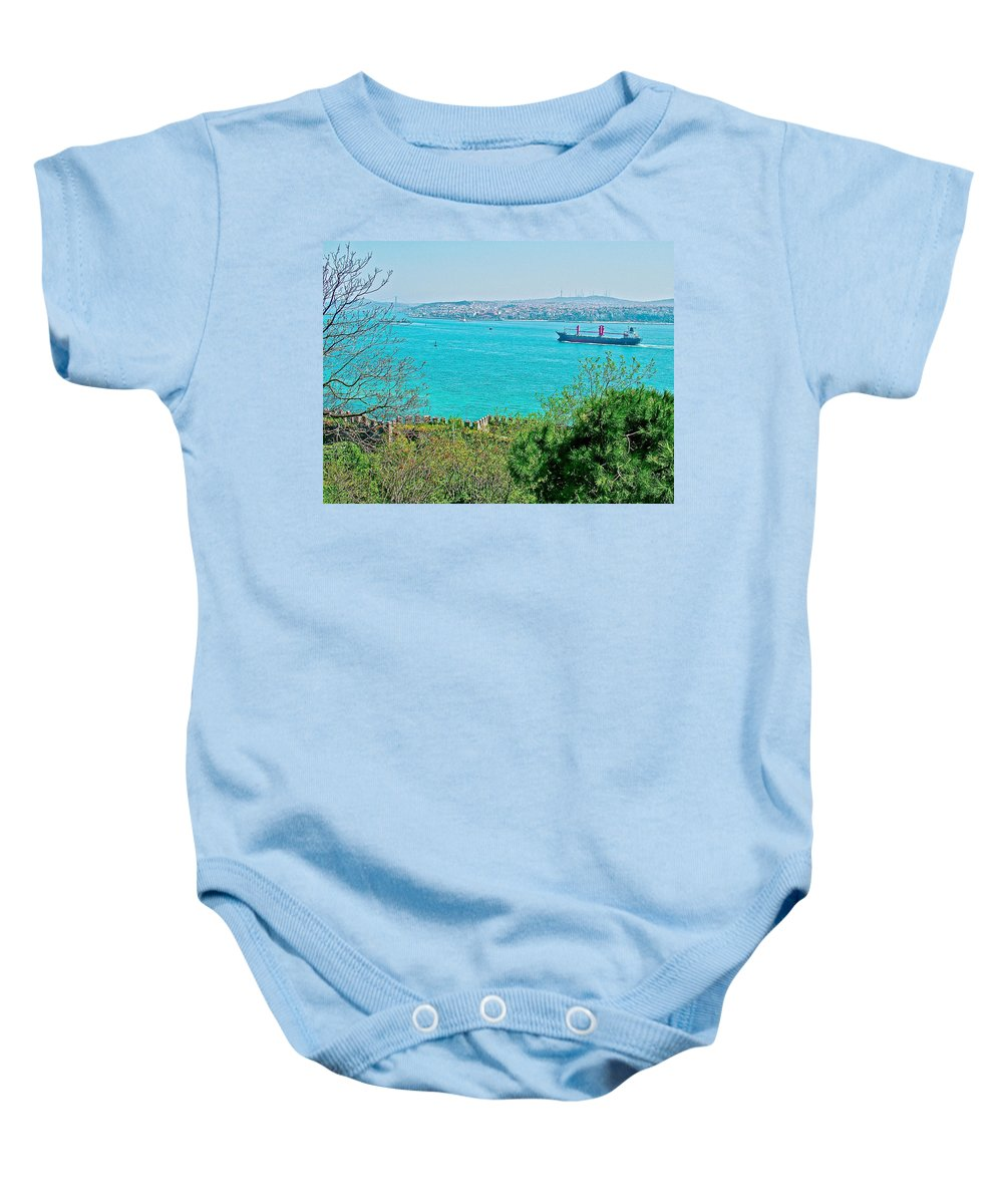 Topkapi Palace Wall Along The Bosporus In Istanbul Baby Onesie featuring the photograph Topkapi Palace Wall Along The Bosporus In Istanbul-turkey by Ruth Hager