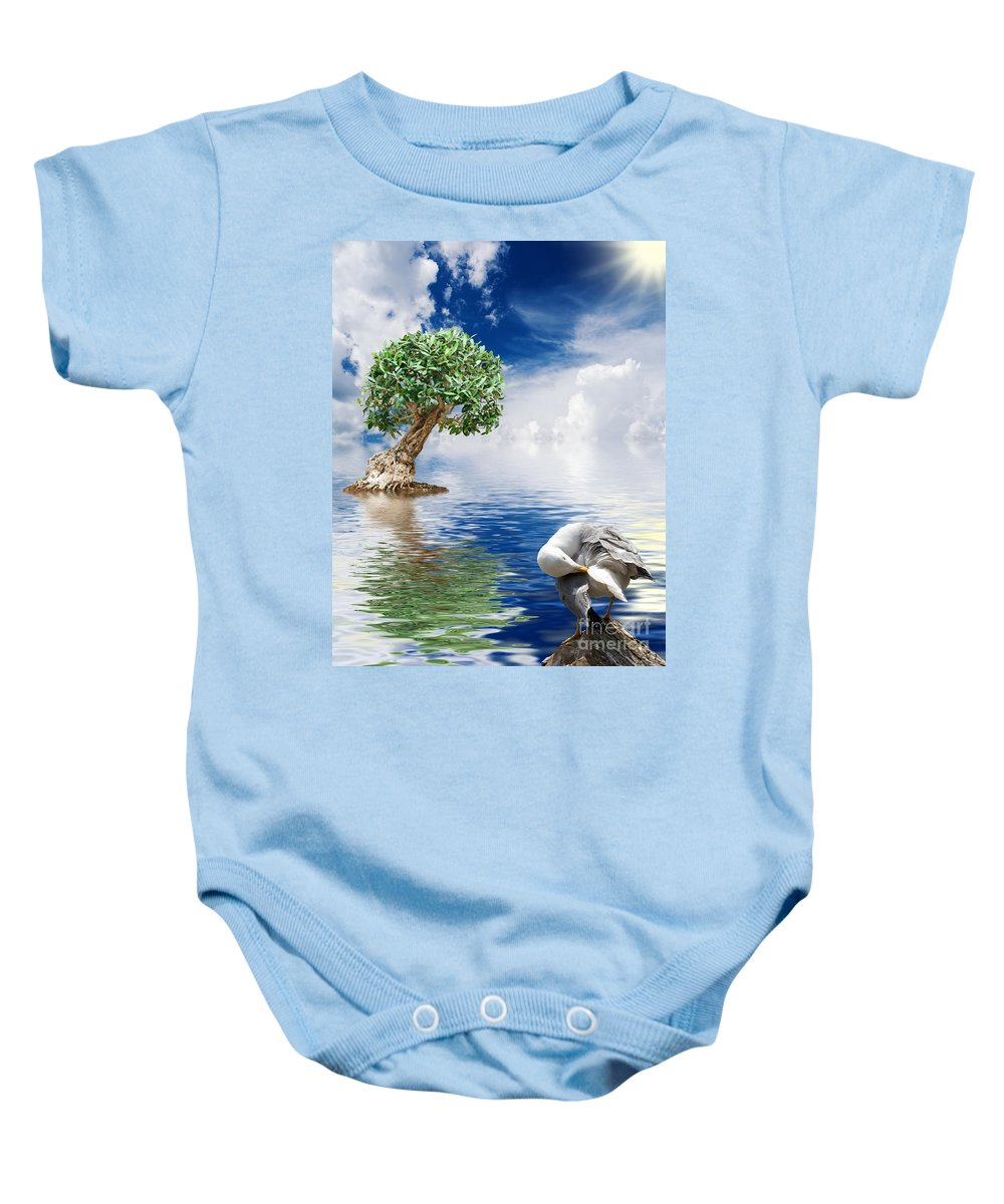 Abstract Baby Onesie featuring the photograph Tree Seagull And Sea by Antonio Scarpi
