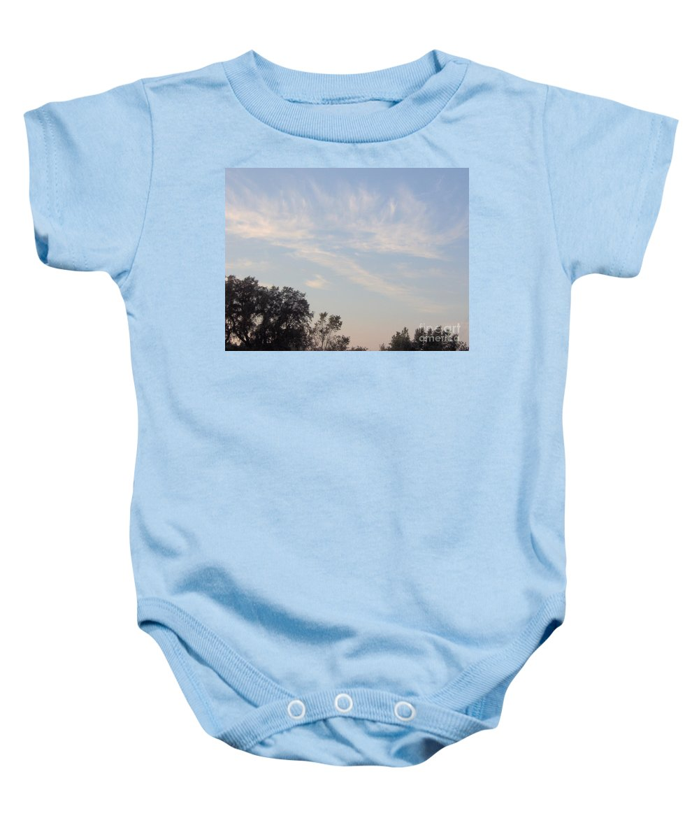 Clouds Baby Onesie featuring the photograph Whispy Clouds by D Hackett