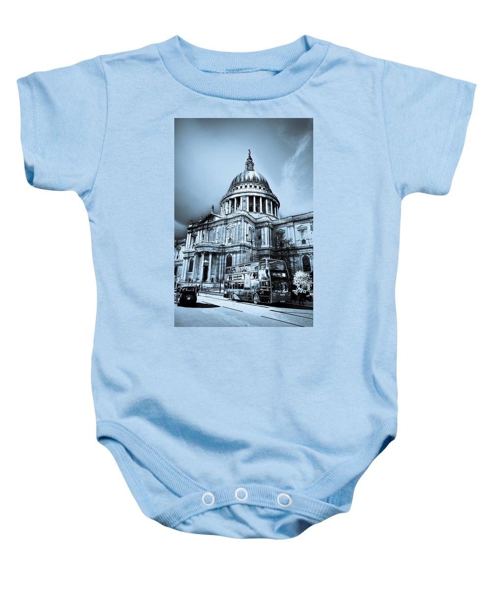 St Pauls Baby Onesie featuring the digital art St Paul's Cathedral London Art by David Pyatt