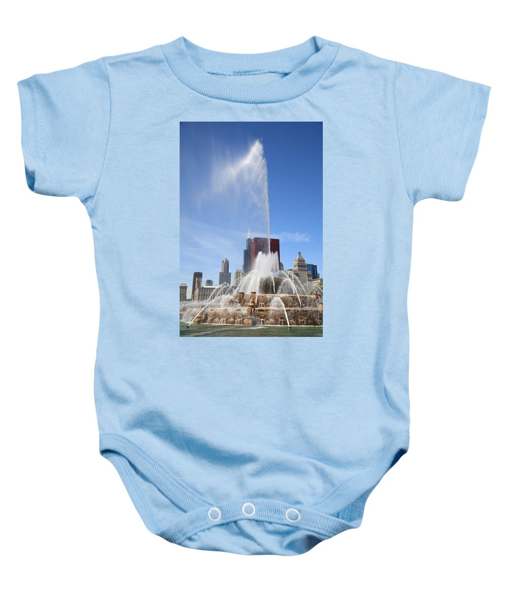 America Baby Onesie featuring the photograph Chicago Skyline And Buckingham Fountain by Frank Romeo