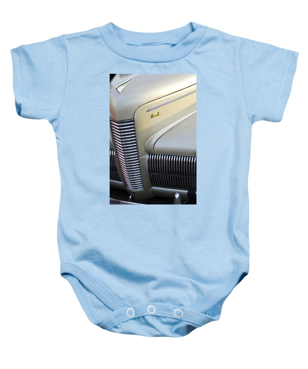 Car Baby Onesie featuring the photograph 1940 Nash Grille by Jill Reger