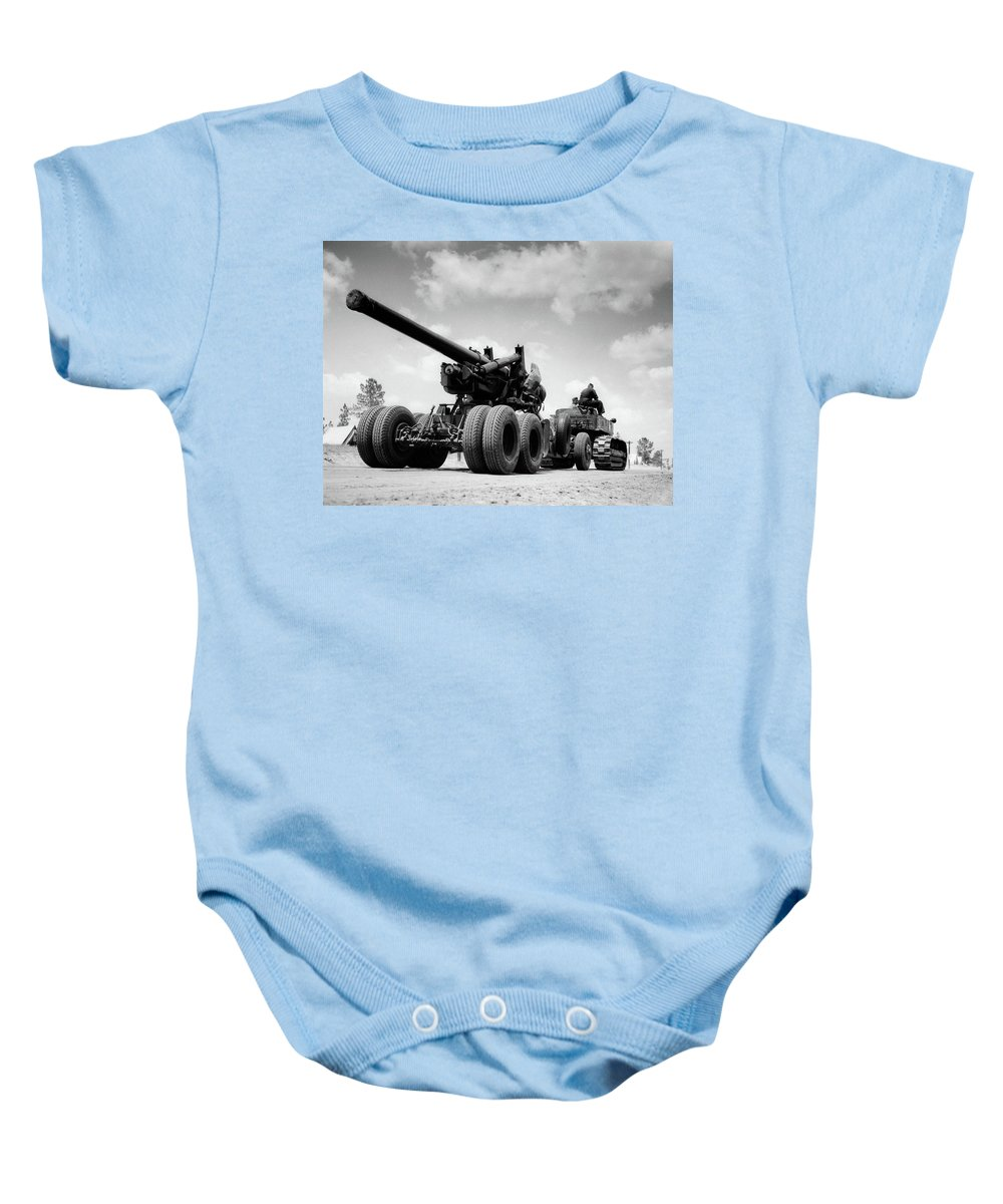 Photography Baby Onesie featuring the painting 1940s Army Track Laying Vehicle by Vintage Images