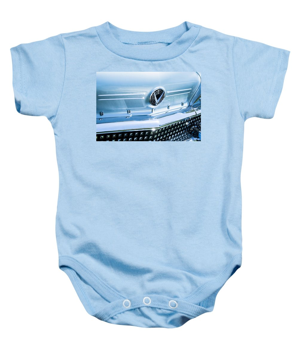 1958 Buick Roadmaster 75 Convertible Grille Emblem Baby Onesie featuring the photograph 1958 Buick Roadmaster 75 Convertible Grille Emblem by Jill Reger