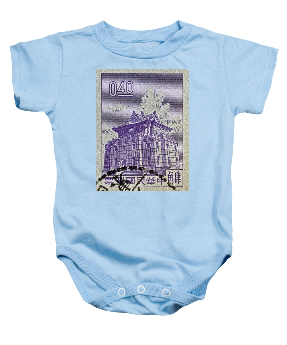 1960 Baby Onesie featuring the photograph 1960 Taiwan Chu Kwang Tower Quemoy Stamp by Bill Owen