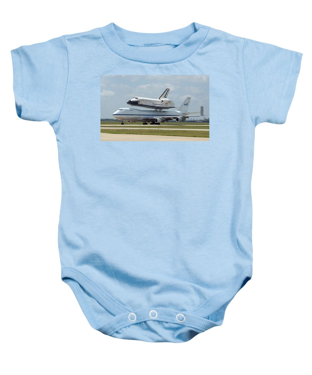 Astronomy Baby Onesie featuring the photograph 747 Carrying Space Shuttle by Science Source