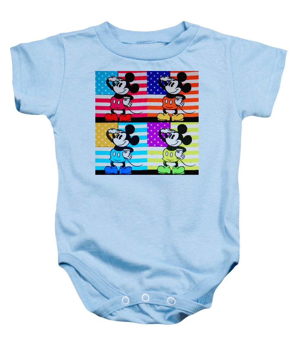 Mickey Mouse Baby Onesie featuring the photograph American Mickey by Rob Hans