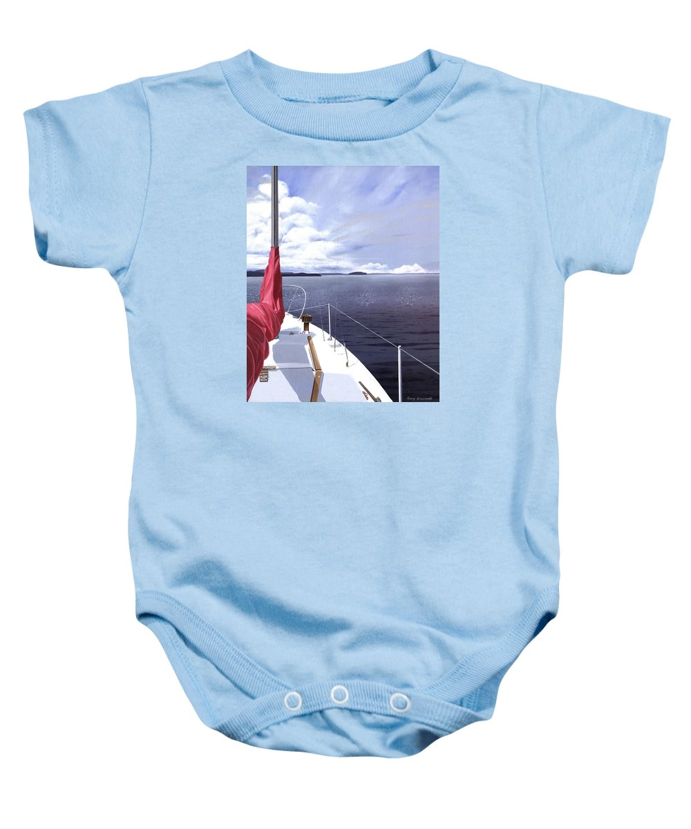 Sailing Baby Onesie featuring the painting Cruising North by Gary Giacomelli
