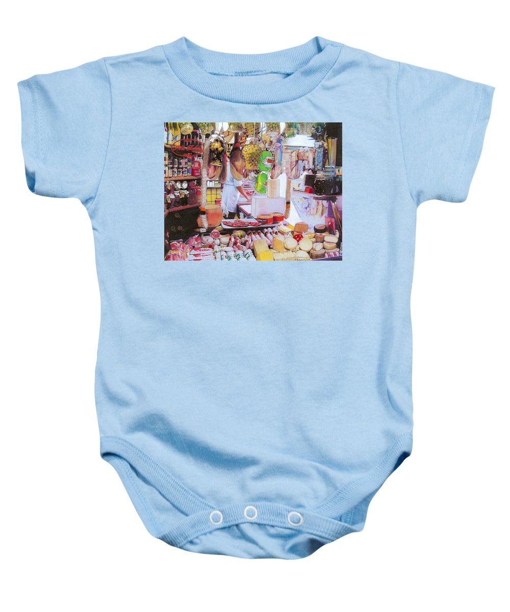 Food Baby Onesie featuring the mixed media Deli On The Via Condotti by Constance Drescher