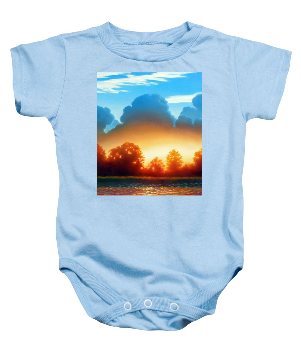 Sunset Baby Onesie featuring the painting Glowing by Kevin Lawrence Leveque