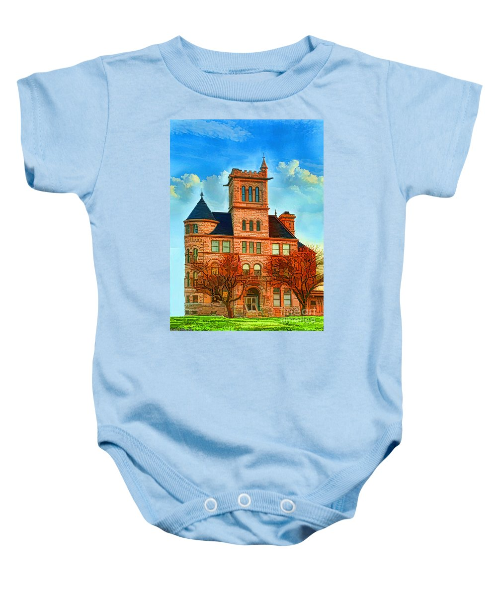 Architecture Baby Onesie featuring the photograph Historic City Hall Springfield Mo by Debbie Portwood