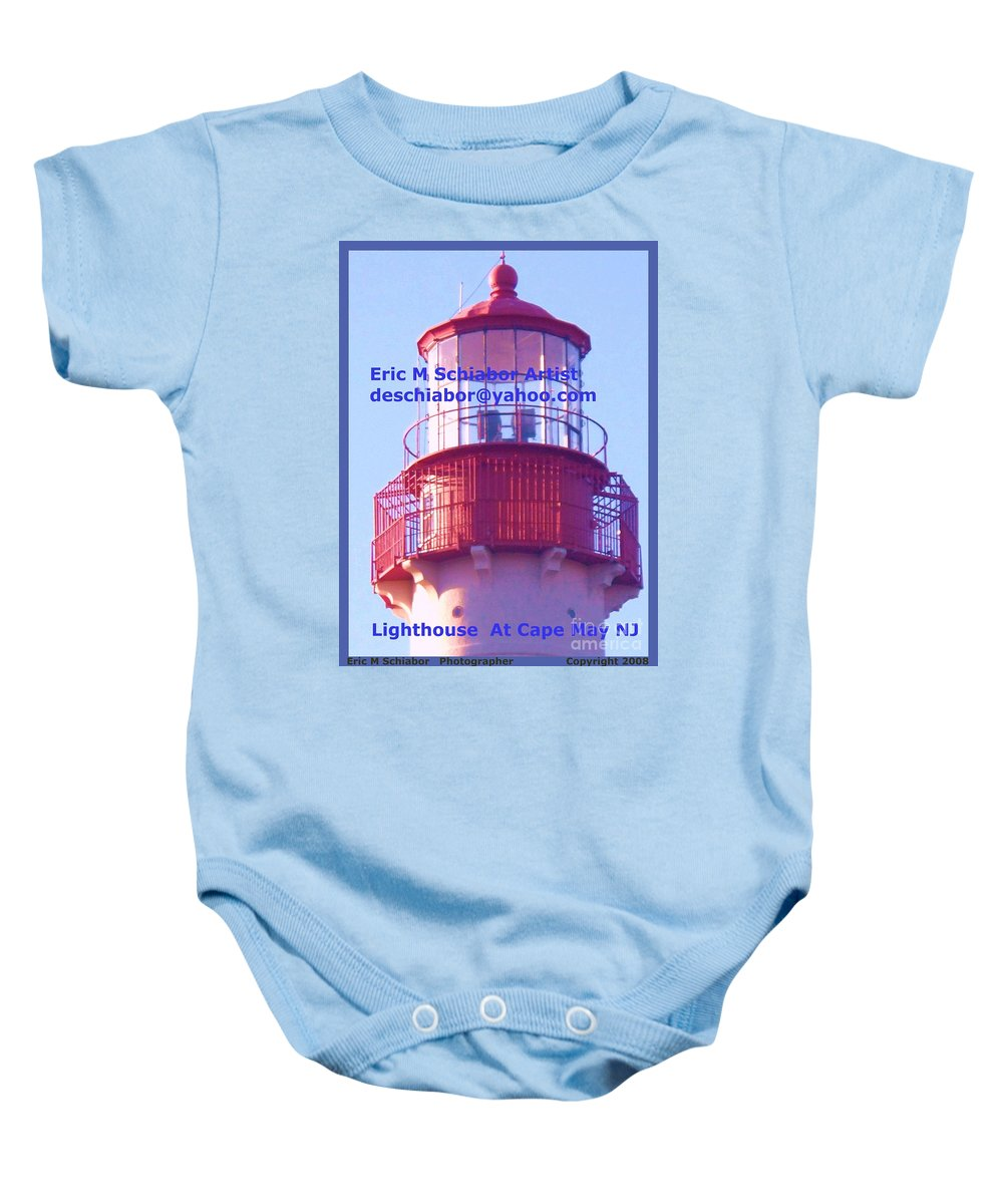 Lighthouse Baby Onesie featuring the photograph Lighthouse At Cape May by Eric Schiabor