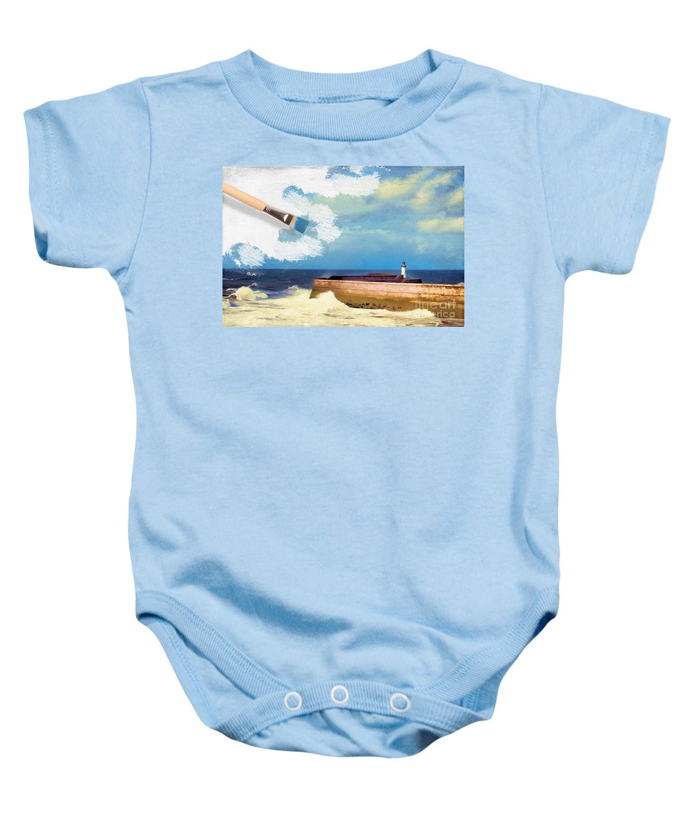 Lighthouse Baby Onesie featuring the photograph Lighthouse At Whitehaven by Amanda Elwell