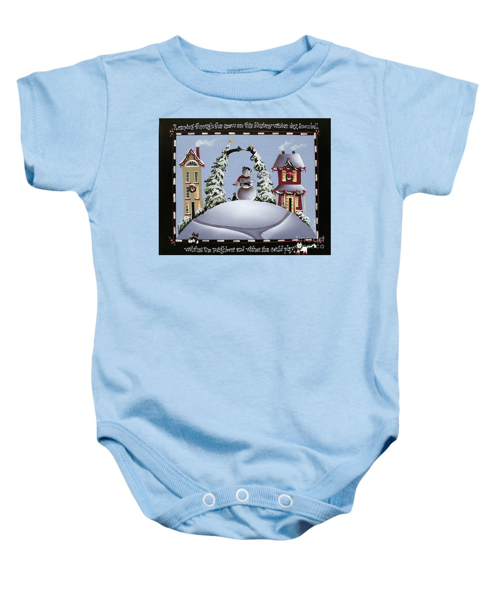 Art Baby Onesie featuring the painting Romping Through The Snow by Catherine Holman
