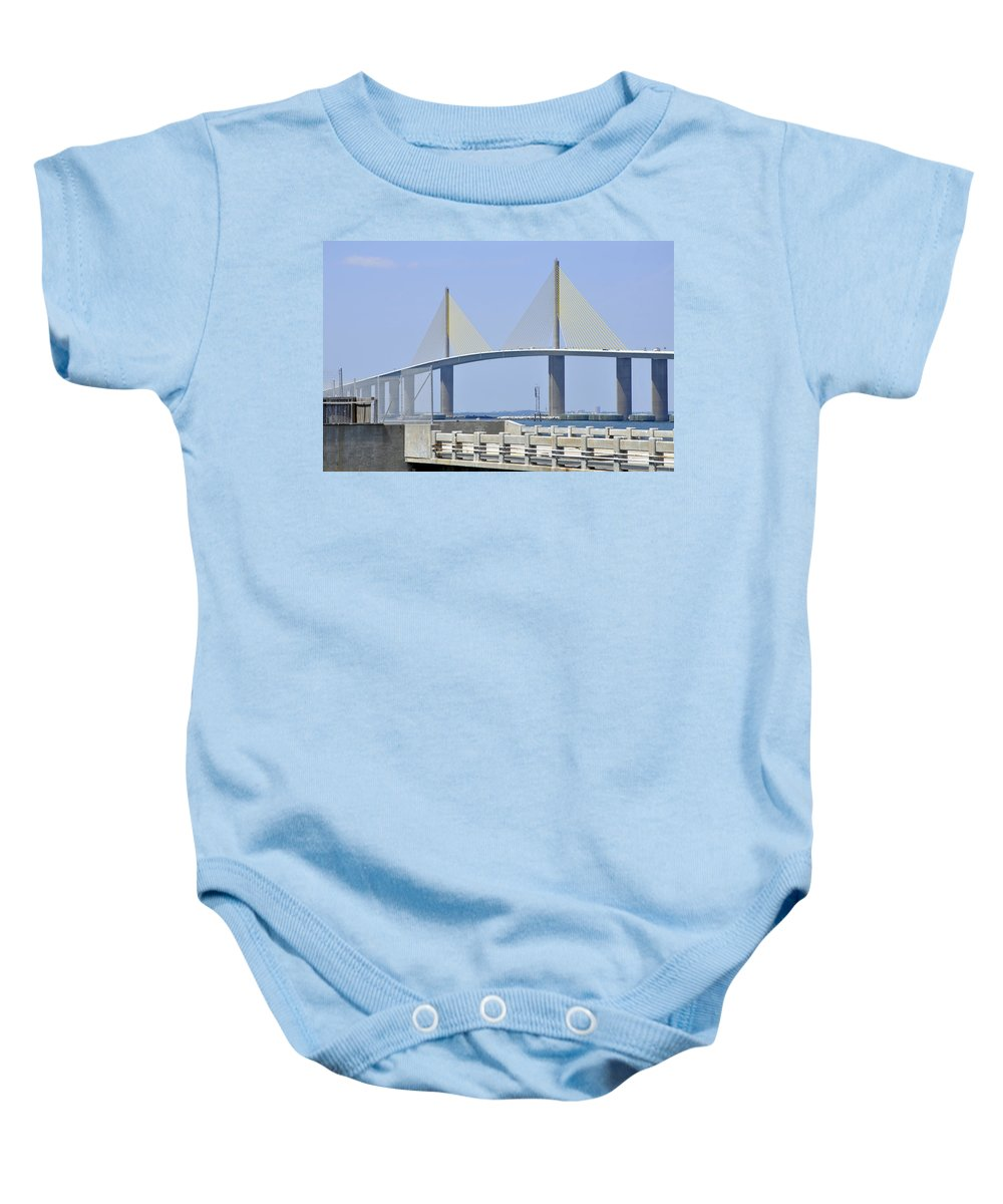 4.1 Baby Onesie featuring the photograph Sunshine Skyway Bridge I Tampa Bay Florida Usa by Sally Rockefeller