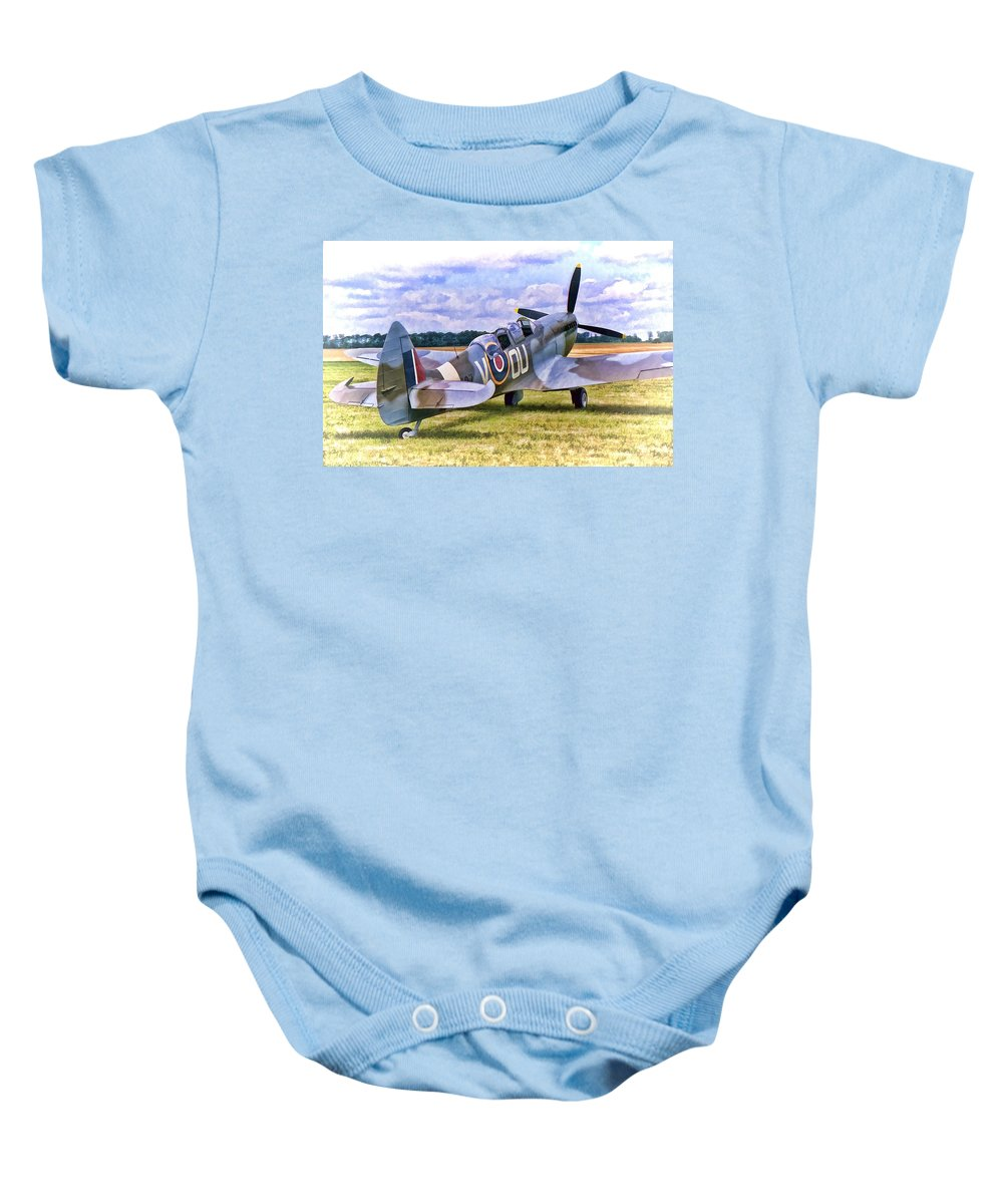 Aircraft Baby Onesie featuring the photograph Supermarine Spitfire T9 by Paul Gulliver