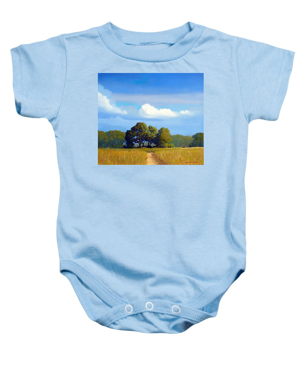 Landscape Baby Onesie featuring the painting The Path by Kevin Lawrence Leveque