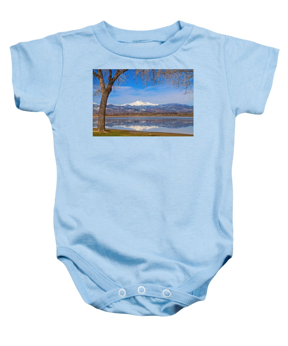 Mountains Baby Onesie featuring the photograph Twin Peaks Longs And Meeker Lake Reflection by James BO Insogna