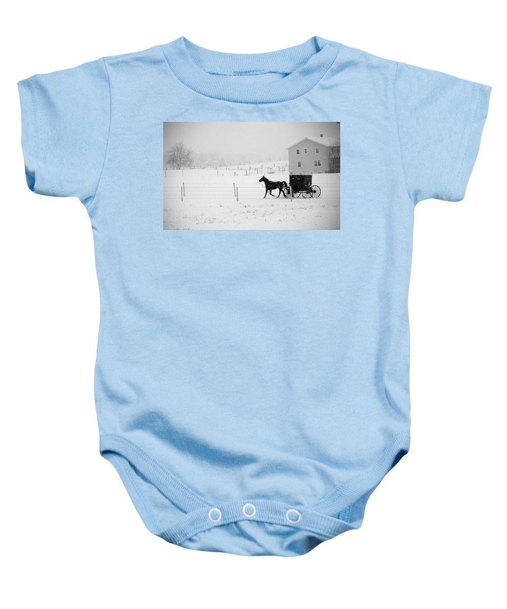 Amish Buggy Baby Onesie featuring the photograph Winter Buggy by David Arment
