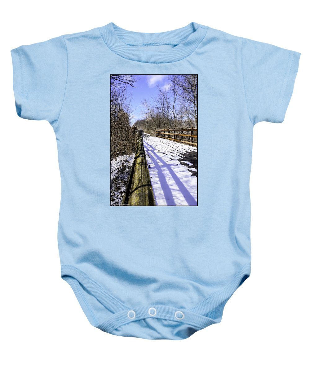 Usa Baby Onesie featuring the photograph Winter On Macomb Orchard Trail by LeeAnn McLaneGoetz McLaneGoetzStudioLLCcom