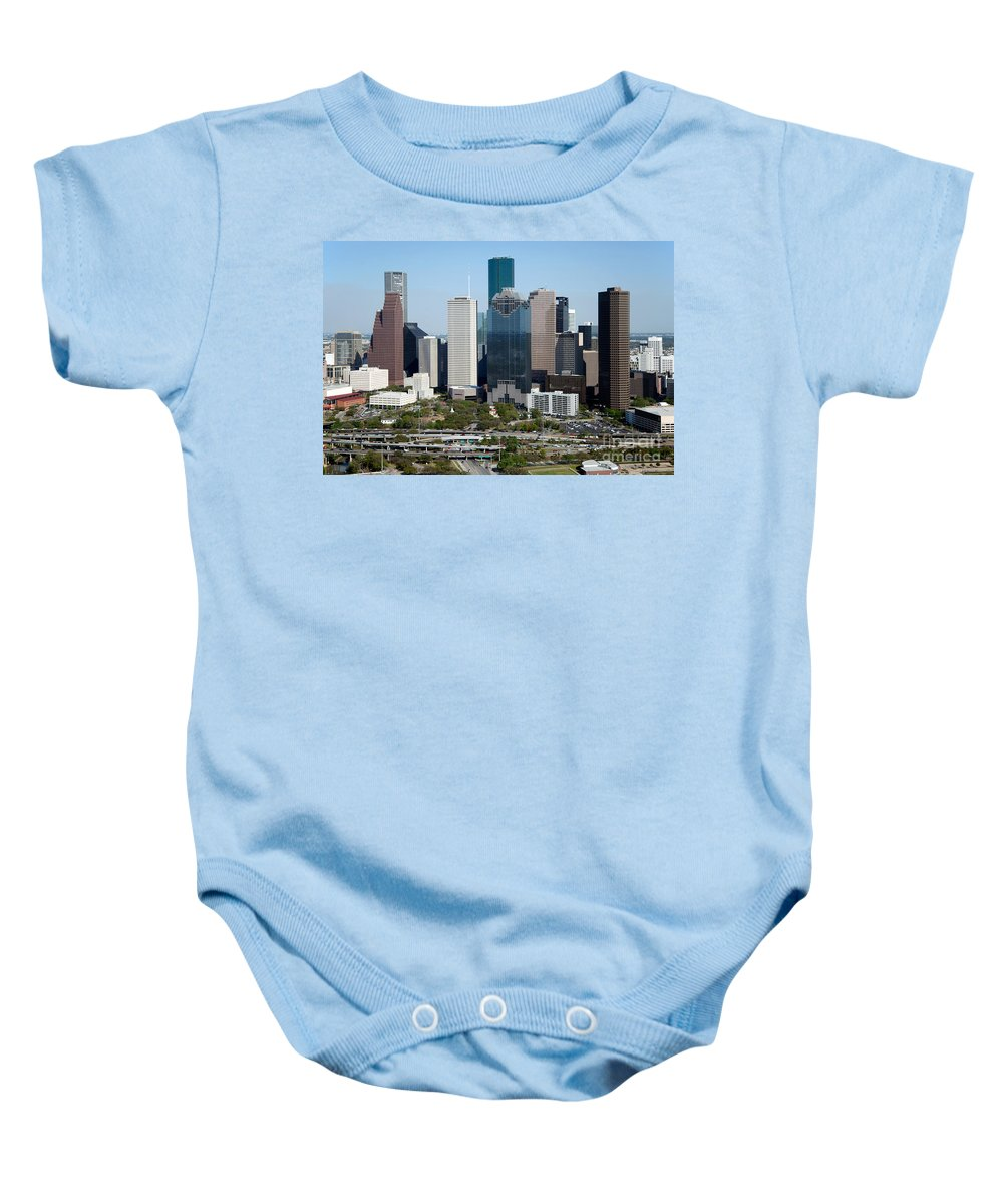 Houston Baby Onesie featuring the photograph Downtown Houston Skyline by Bill Cobb