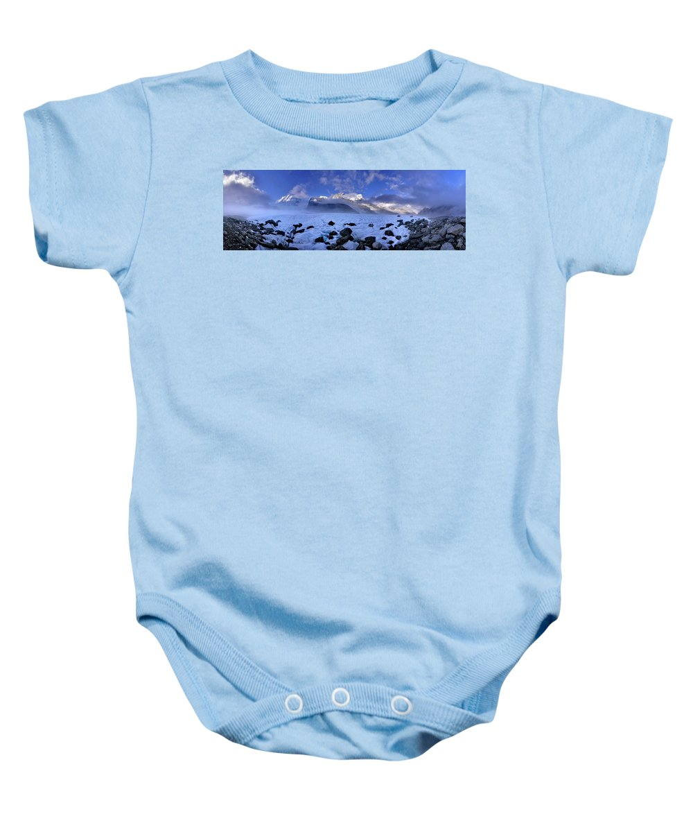 Adventurer Baby Onesie featuring the photograph Exploration Of Ice Caves And Moulins by Robbie Shone