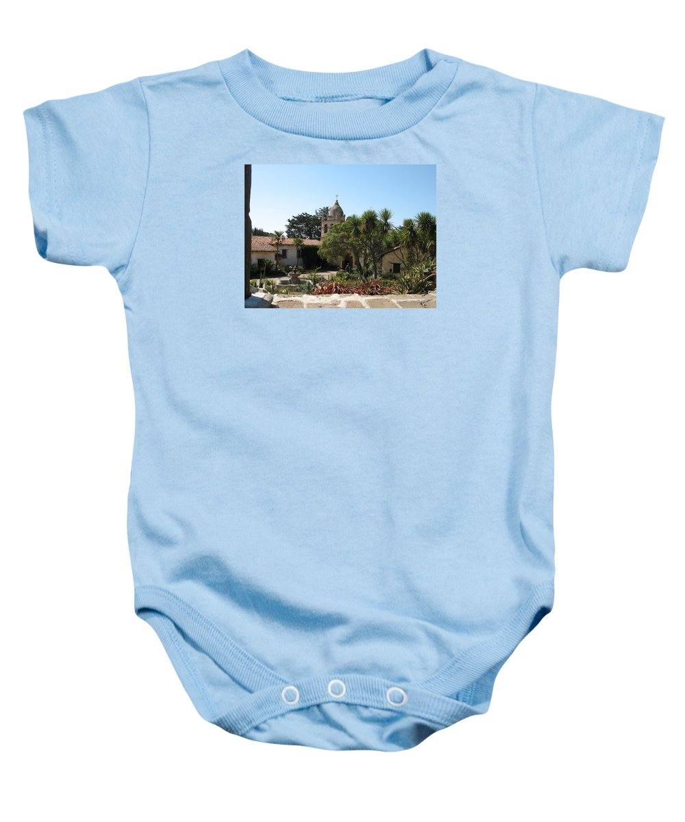 Mission Baby Onesie featuring the photograph Mission San Carlos Borromeo Del Rio Carmelo by Christiane Schulze Art And Photography