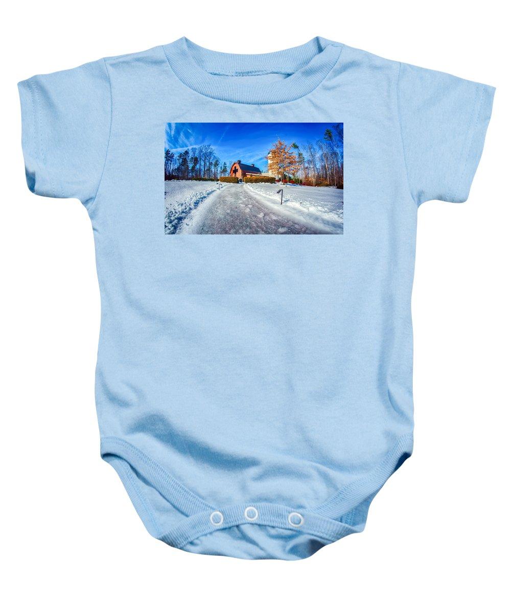 Snow Baby Onesie featuring the photograph Snow Around Billy Graham Library After Winter Storm by Alex Grichenko