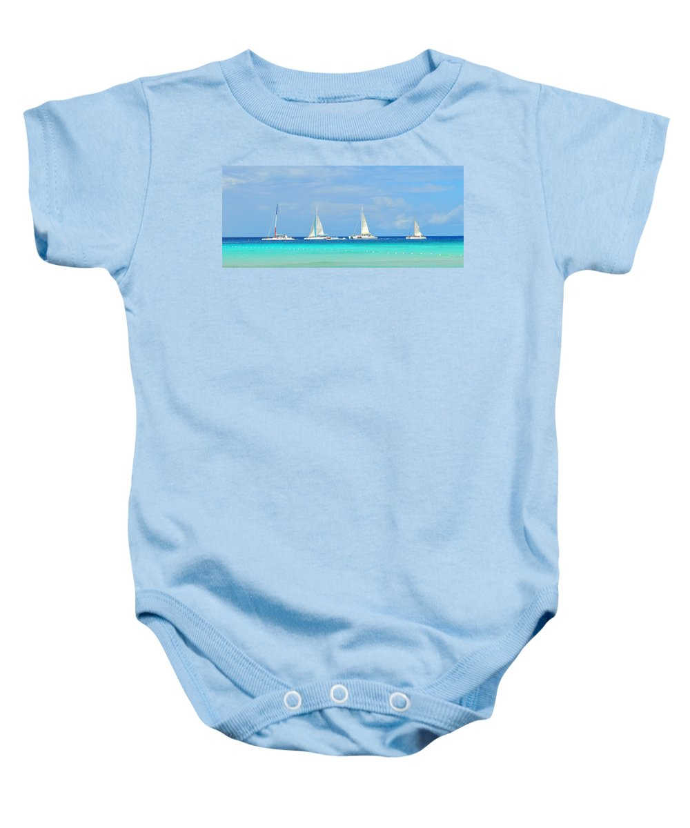 Boats Baby Onesie featuring the photograph 5 Boats In A Row by Photos By Cassandra