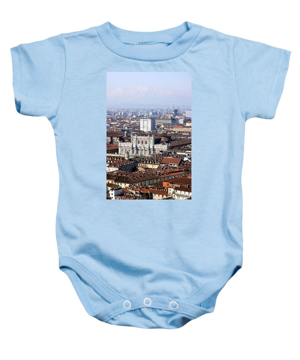 Torino Baby Onesie featuring the photograph View Of Turin by Valentino Visentini