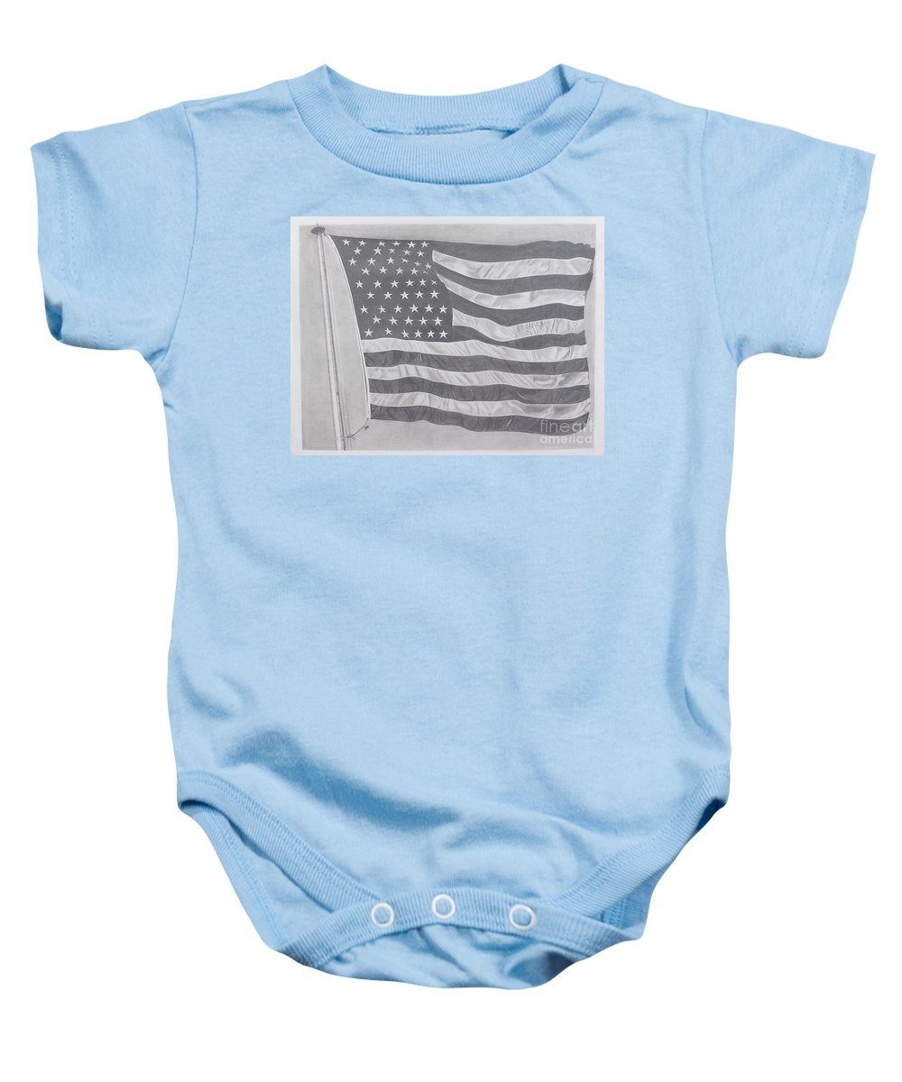 Flag Baby Onesie featuring the pastel 50 Stars 13 Stripes by Wil Golden