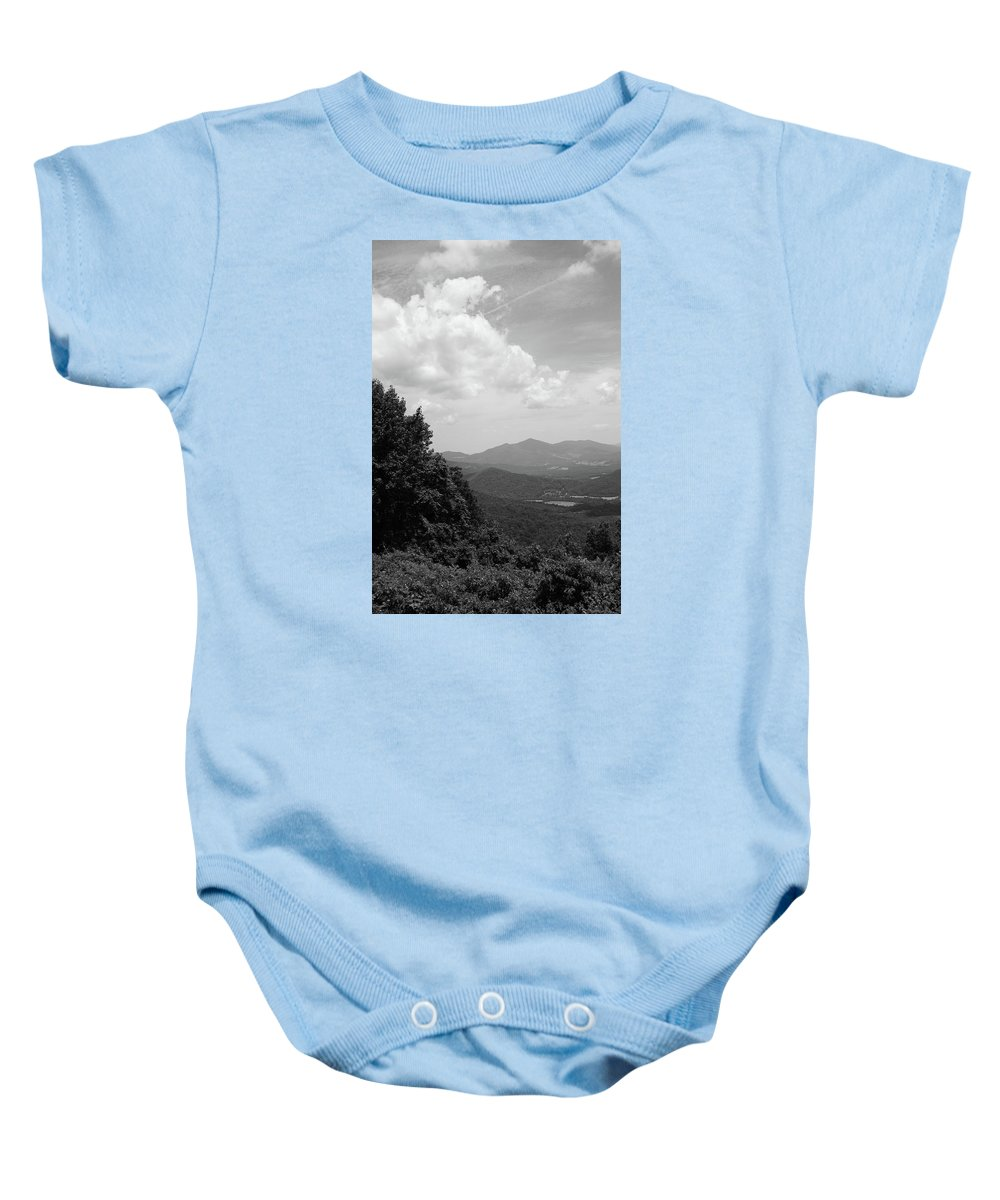 America Baby Onesie featuring the photograph Blue Ridge Mountains - Virginia Bw 3 by Frank Romeo